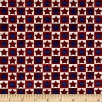 Fabri-Quilt Pride Proud to Be American Checkerboard Blue & Red Fabric by The Yard