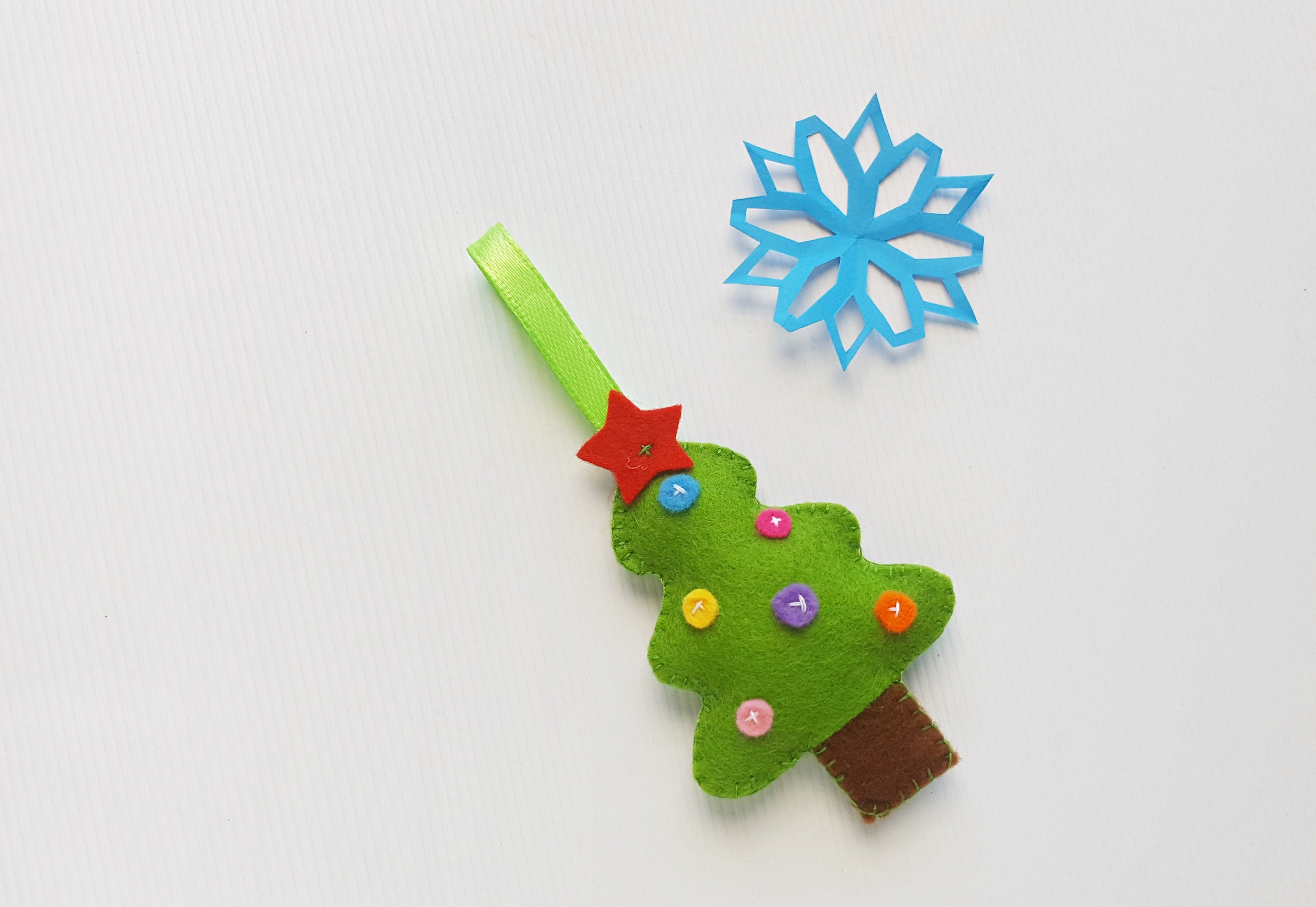 Felt Christmas Tree Ornament with Blue Paper Snowflake