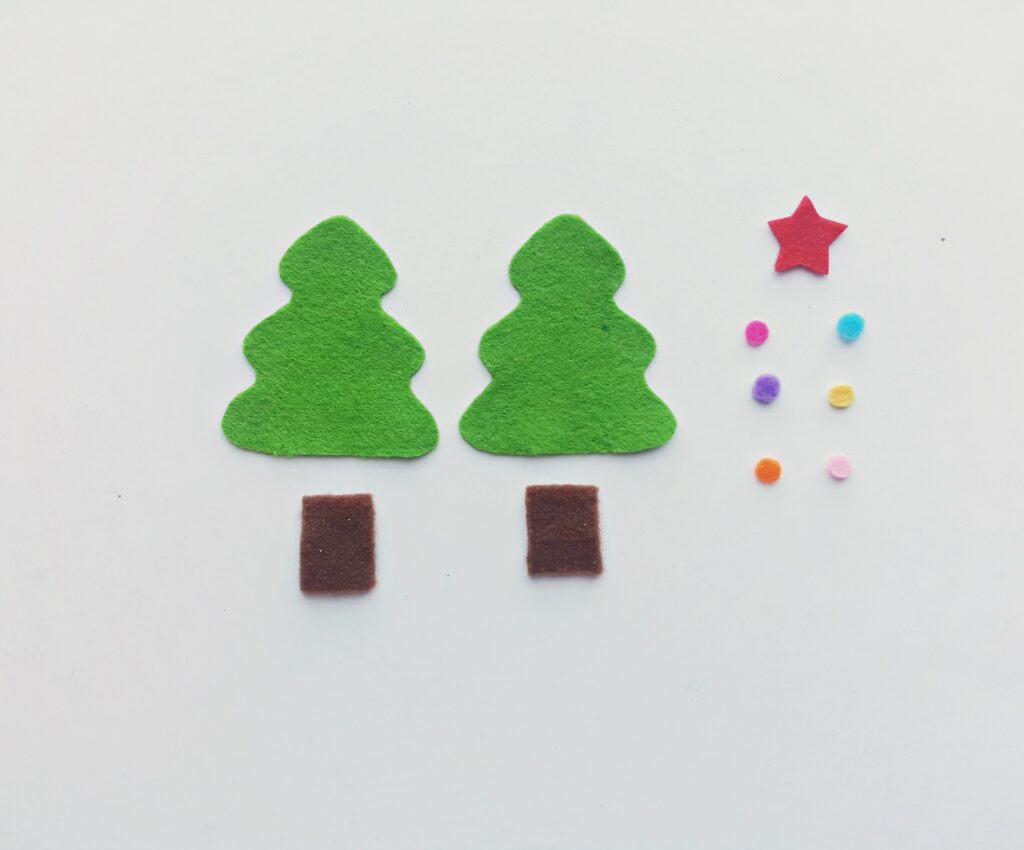 Felt pieces cut out to make Christmas tree ornament