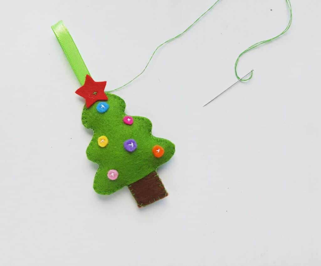 Sewing Star on Felt Christmas Ornaments