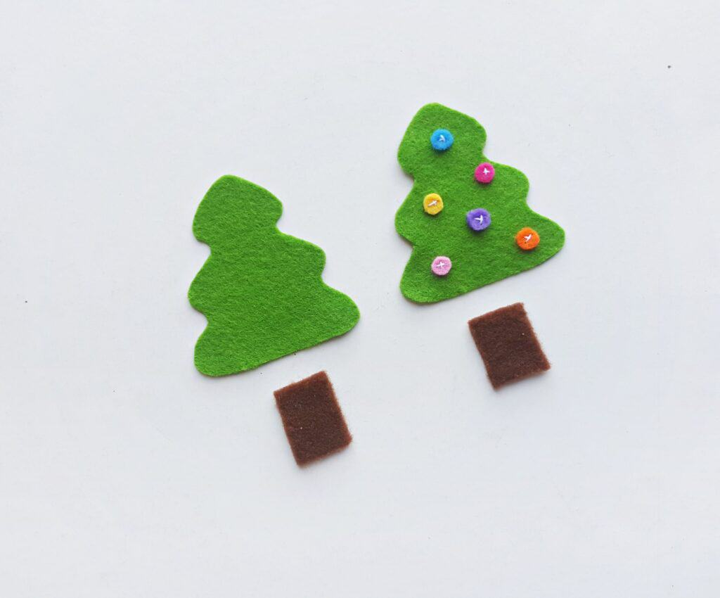 Placing pieces of felt Christmas tree ornament