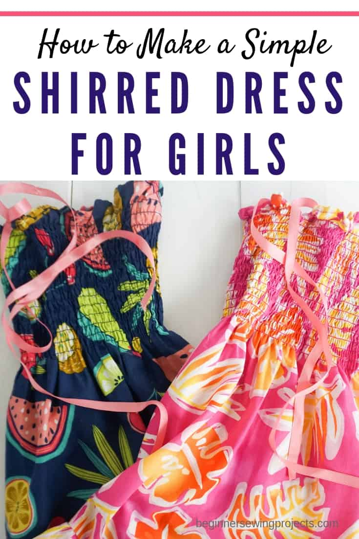 Simple Shirred Dress for Girls. This is a quick and easy sewing projet! #sewingprojects