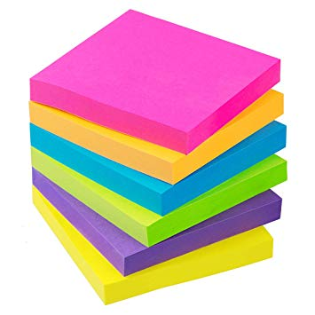 Sticky Notes 3x3 Inch 6 Bright Color 100 Sheets