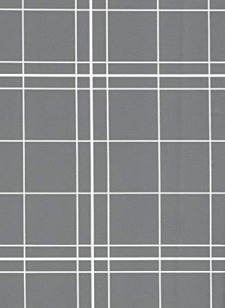 White Lines Flannel Backed Vinyl Tablecloth, 52-Inch by 52-Inch Square, Gray