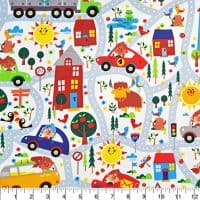 Comfy Flannel Sunny Days Roads Fabric Sold by the Yard