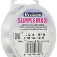 "Beadalon Supplemax 0.30 mm (0.012"") Nylon Bead Stringing Material, 50 m (164 ft), Clear Monofilament Illusion Cord"