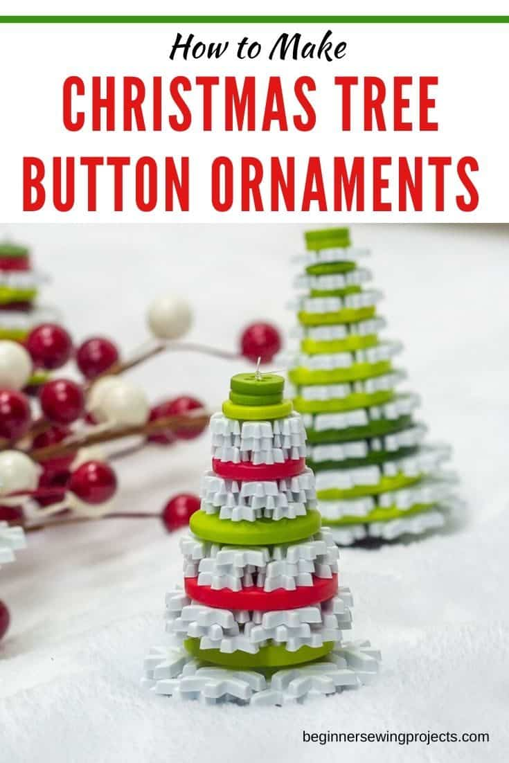 This little button Christmas tree ornaments are so cute and crazy easy to make. Kids love them too! #ornaments