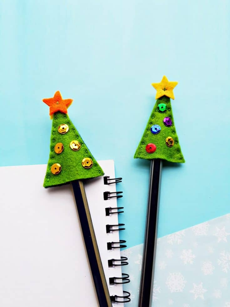 Felt Pencil Toppers Christmas Tree Craft