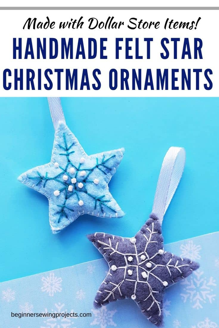 Handmade Felt Star Christmas Ornament - Easy, inexpensive and adorable! I love making these for the holidays.