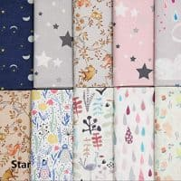 COTTONVILL Cotton Flower & Animal Pattern Precut Quilting Fabric Half Yard 10pcs (Star)