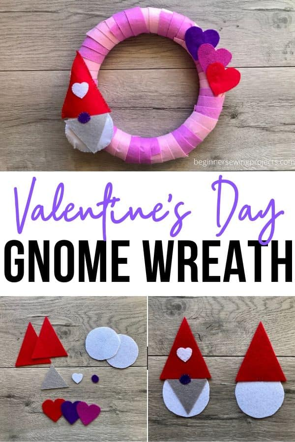 Valentine's Day Gnome Wreath - How to make the cutest Valentine's Day wreath? Add a gnome! Awesome use of felt and great tutorial with photos.