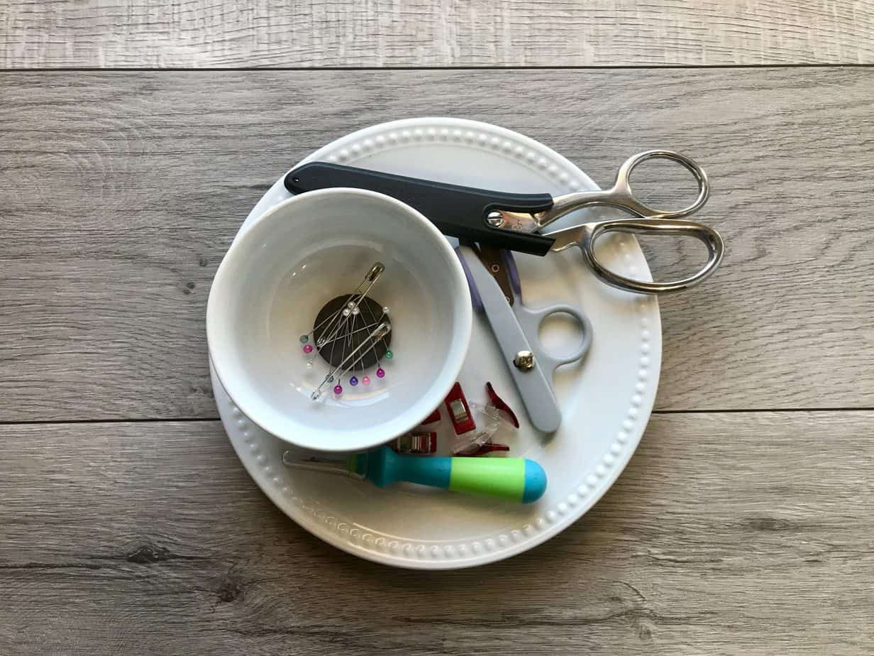 Plate and Magnetic Bowl Holding Sewing Supplies