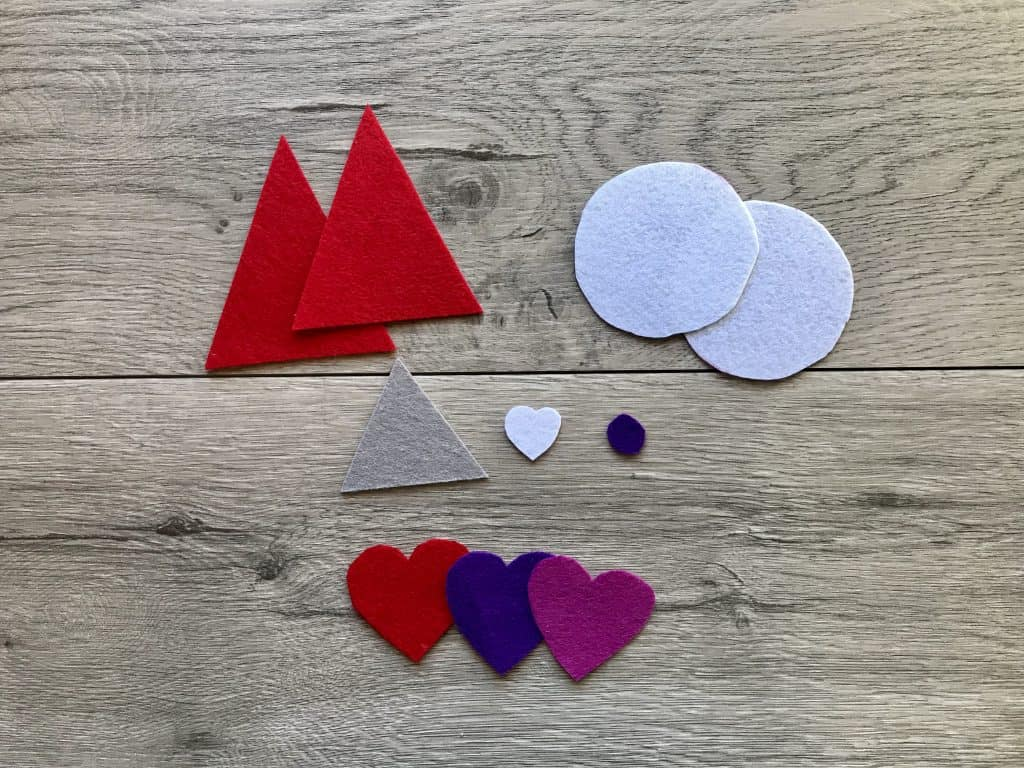 Cut out Felt Pieces for Gnome Wreath Craft