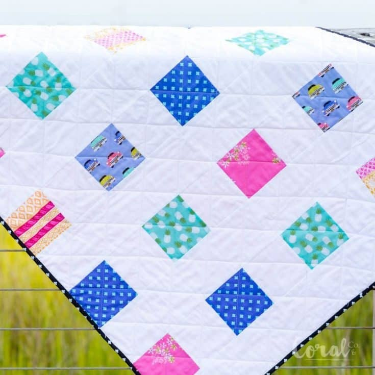 Simple Charm Pack Baby Quilt Pattern - Free Four Square Quilt Pattern