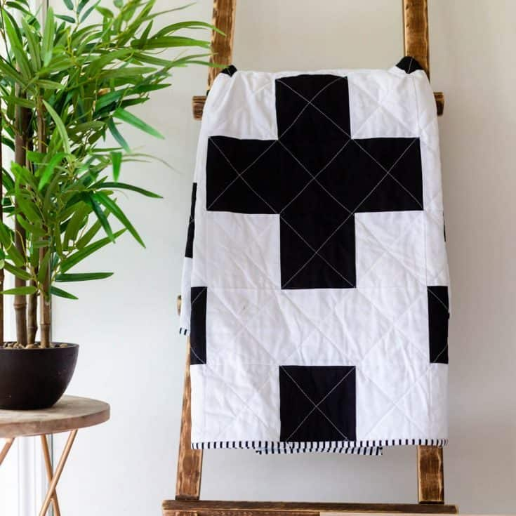 Free Swiss Cross Quilt Pattern - A Modern Black and White Quilt -