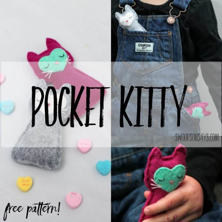 Free cat sewing pattern – felt pocket kitty!