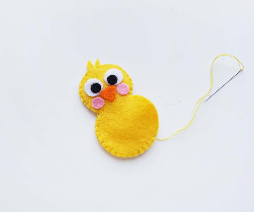 Sew felt chick closed