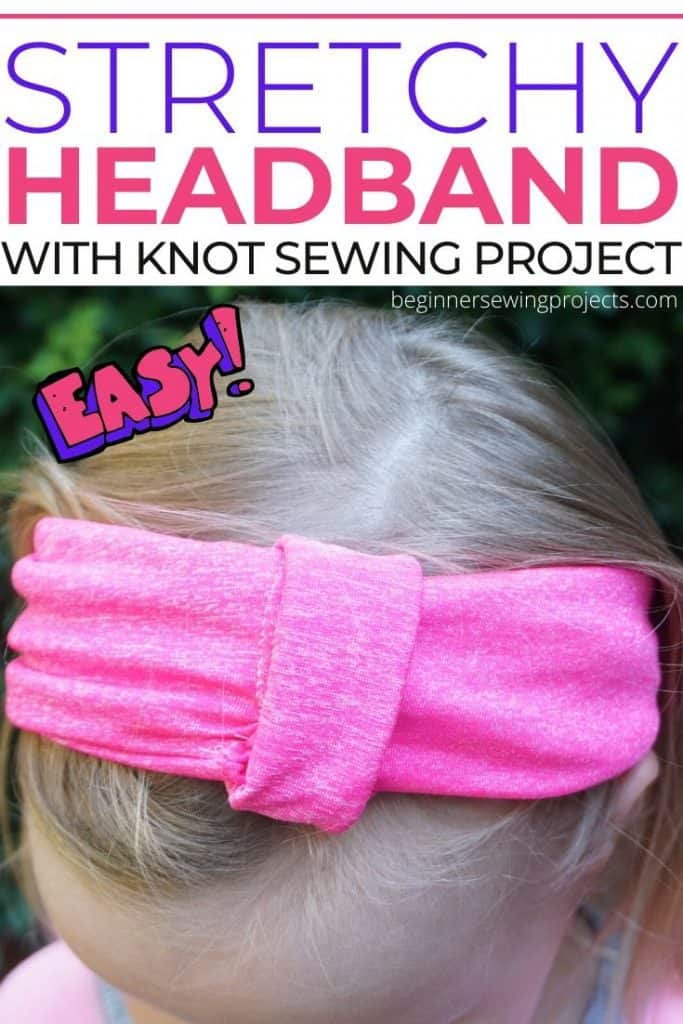 Girl wearing pink stretchy headband with knot