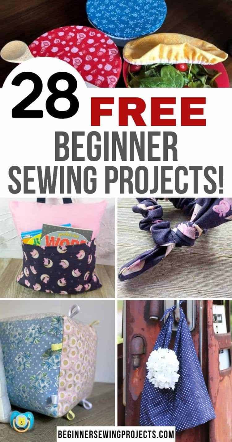 28 Free Beginner Sewing Projects - knot bow - pocket pillow - bag - baby block - food bow covers you can sew