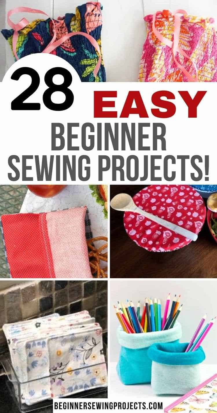 Easy Beginner Sewing Projects - Girls dress - sandwich bags - bowl covers - fabric basket - makeup remover pads