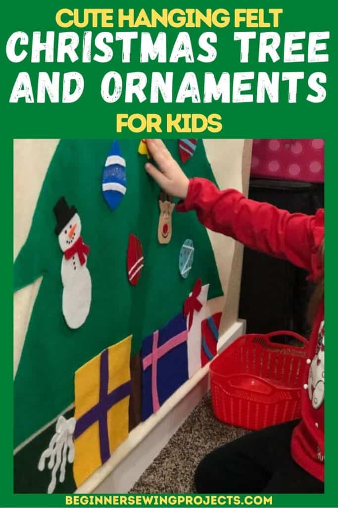 Cute Hanging Felt Christmas Tree and Ornaments for Kids