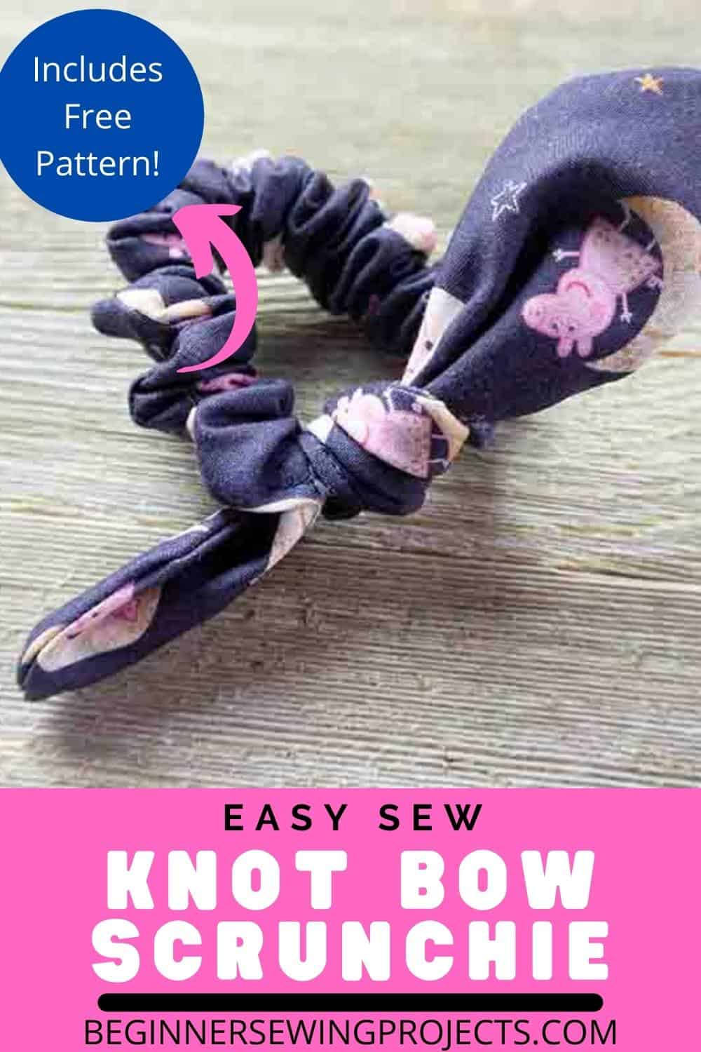 Easy Sew Knot Bow Scrunchie