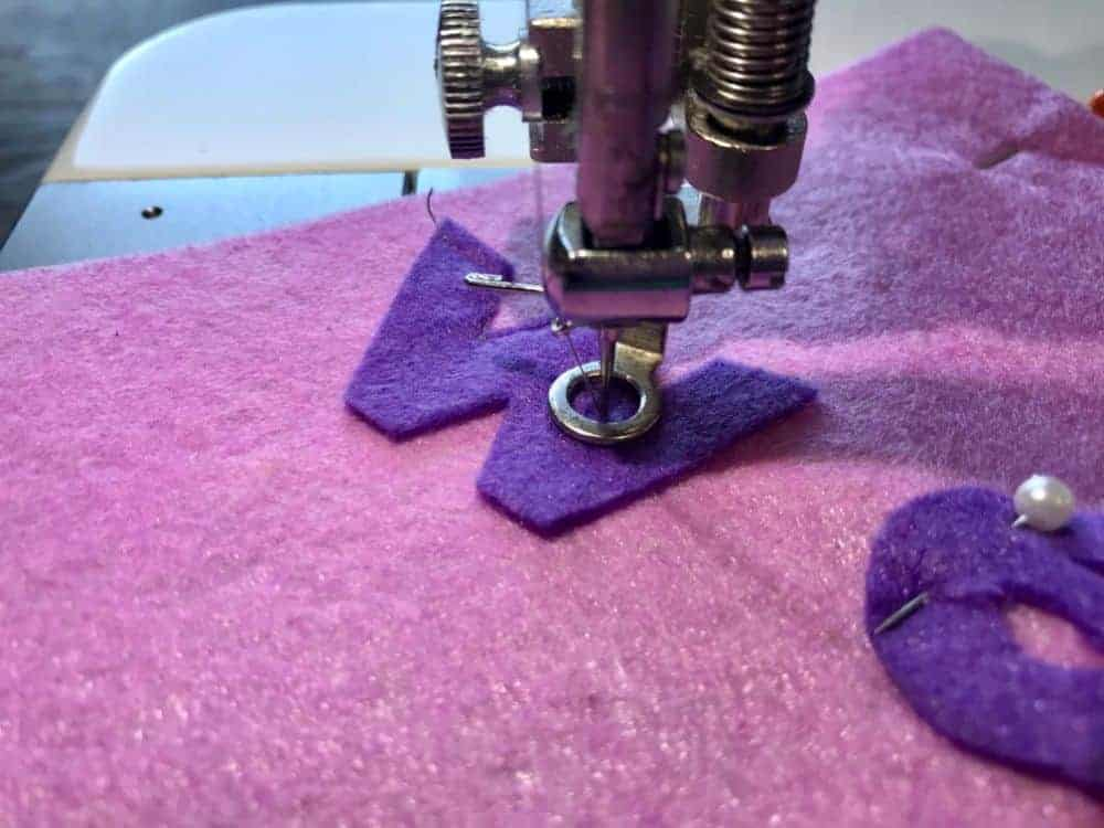 sewing on banner letters