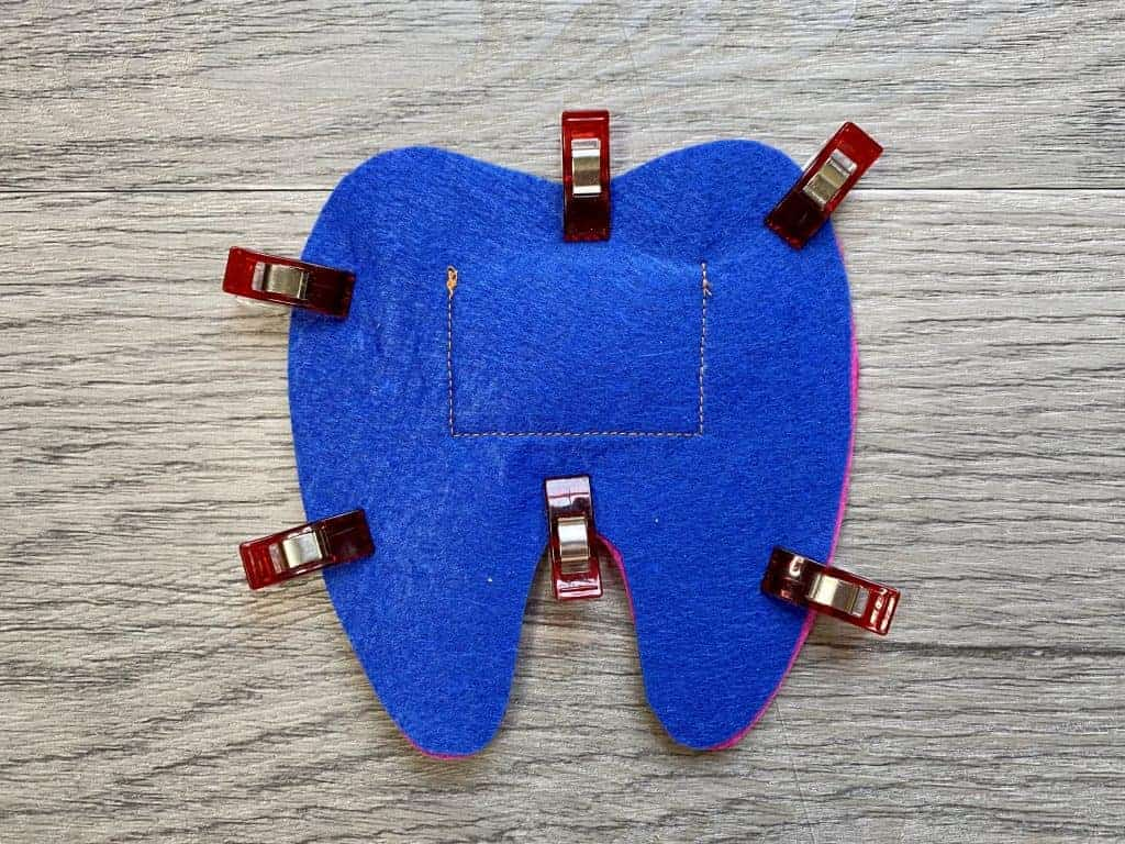 clip pieces of tooth fairy pillow together