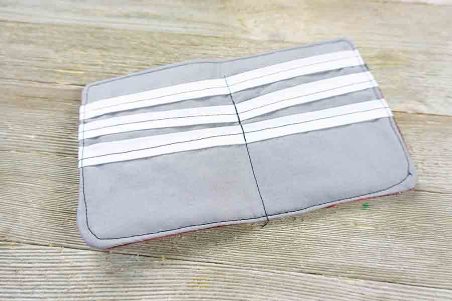Top stitch all sides of fabric wallet