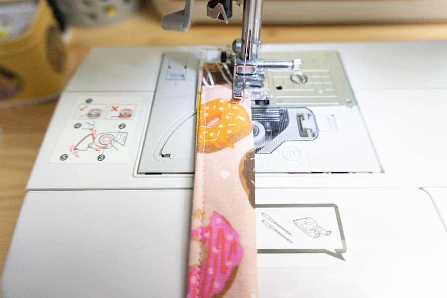 Stitch all sides of Wristlet key fob
