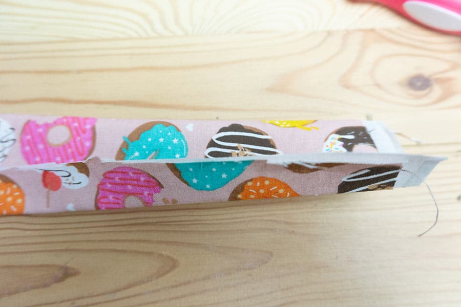 Fold and press sides to make a strip of fabric