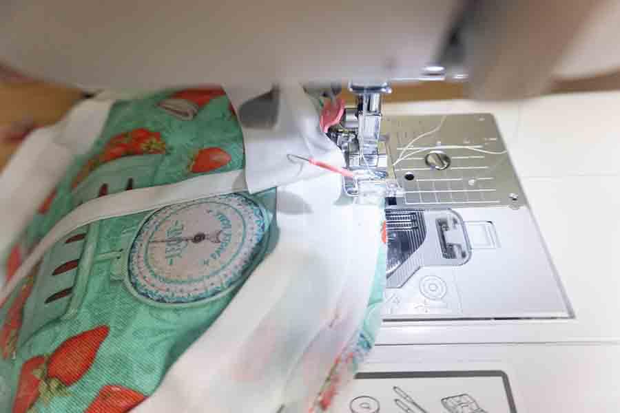 Sew bias tape to edges