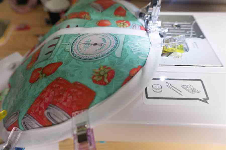Flip and top stitch bias tape