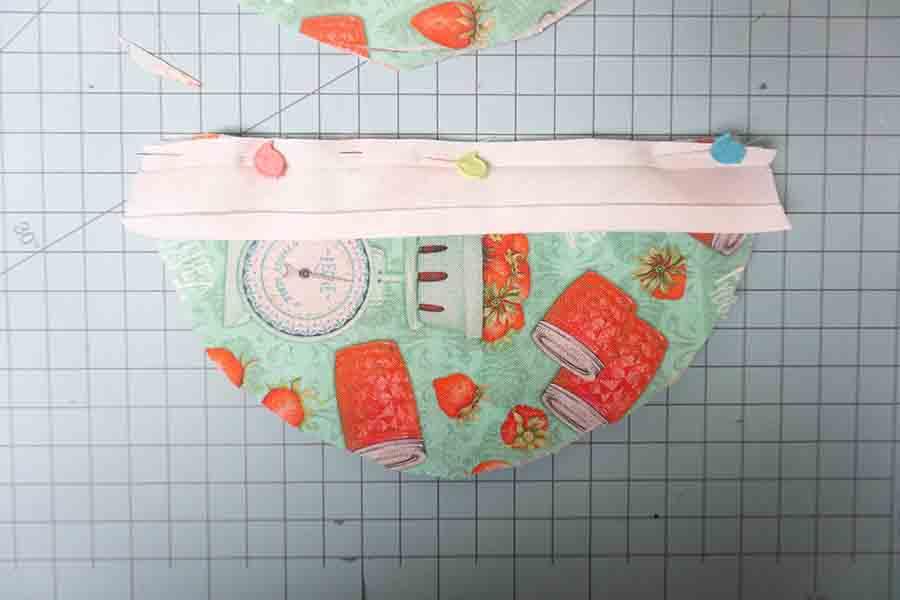 Pin bias tape to fabric