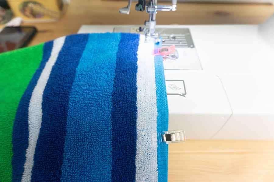 sew edge of towel