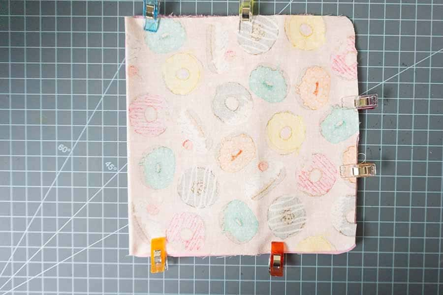 fold printed fabric around to the front and pin