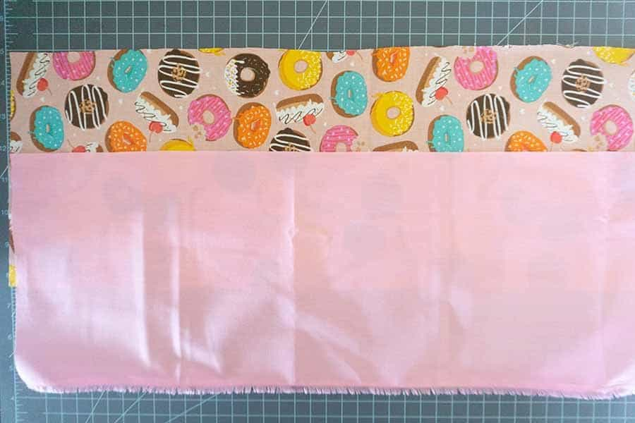 layout and cut fabric for clutch purse