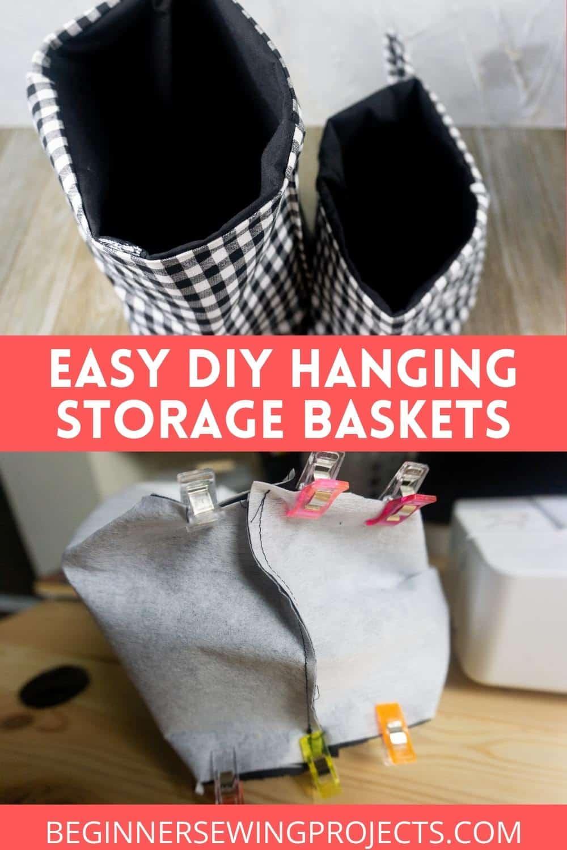 Easy DIY Hanging Storage baskets