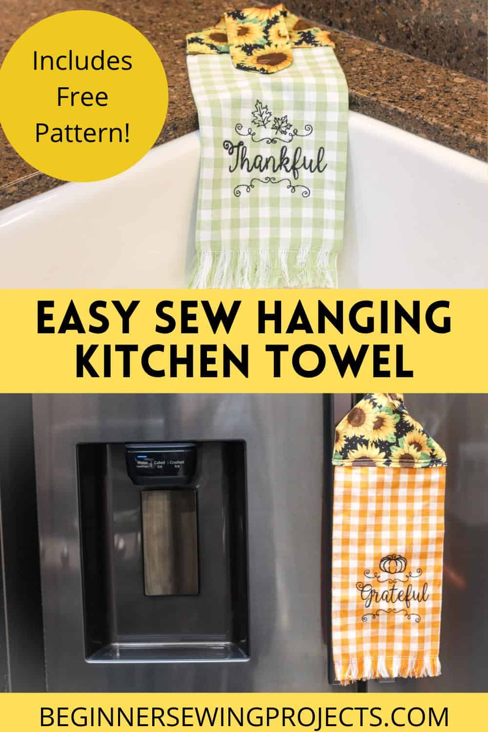 Easy Sew Hanging Kitchen Towel With Free Pattern