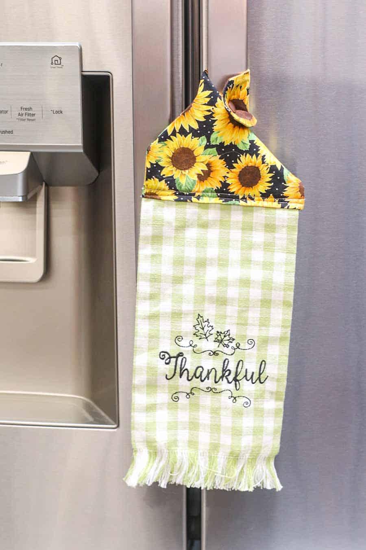 finished hanging kitchen towel