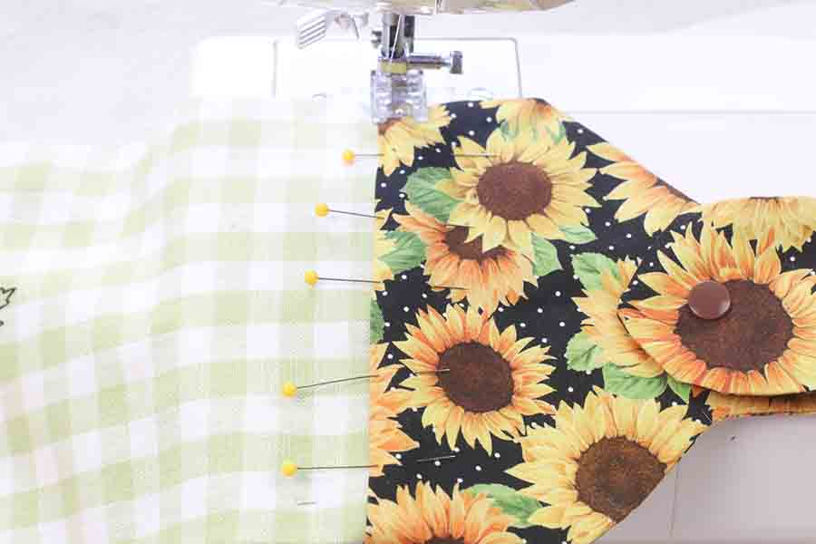sew pieces of hanging kitchen towel together